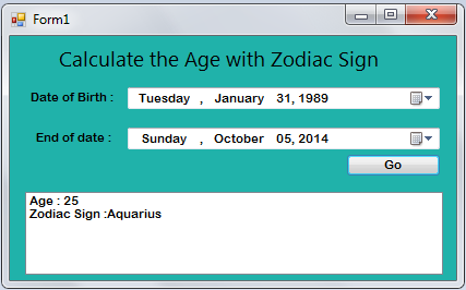How to Create an Age Calculator With Zodiac Sign in VB.Net