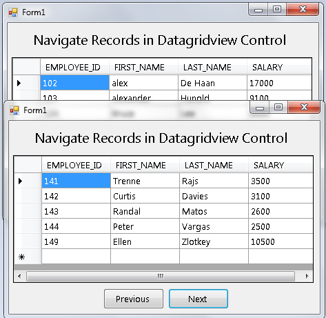 How to Navigate Records In the DataGridView Using Visual Basic 2008 And MySQL Database