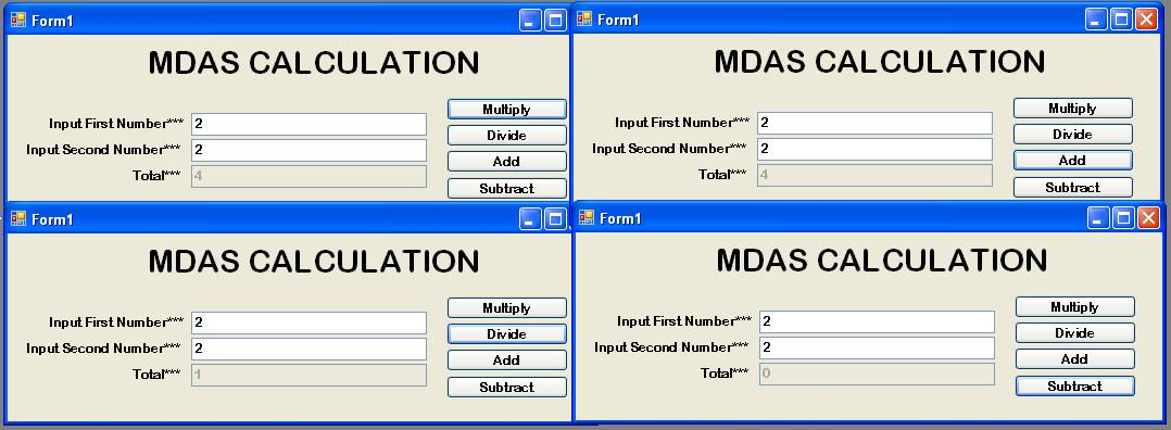 How to Create the MDAS Calculation in VB Net