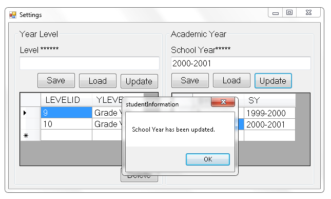 Retrieve and Update Academic Year