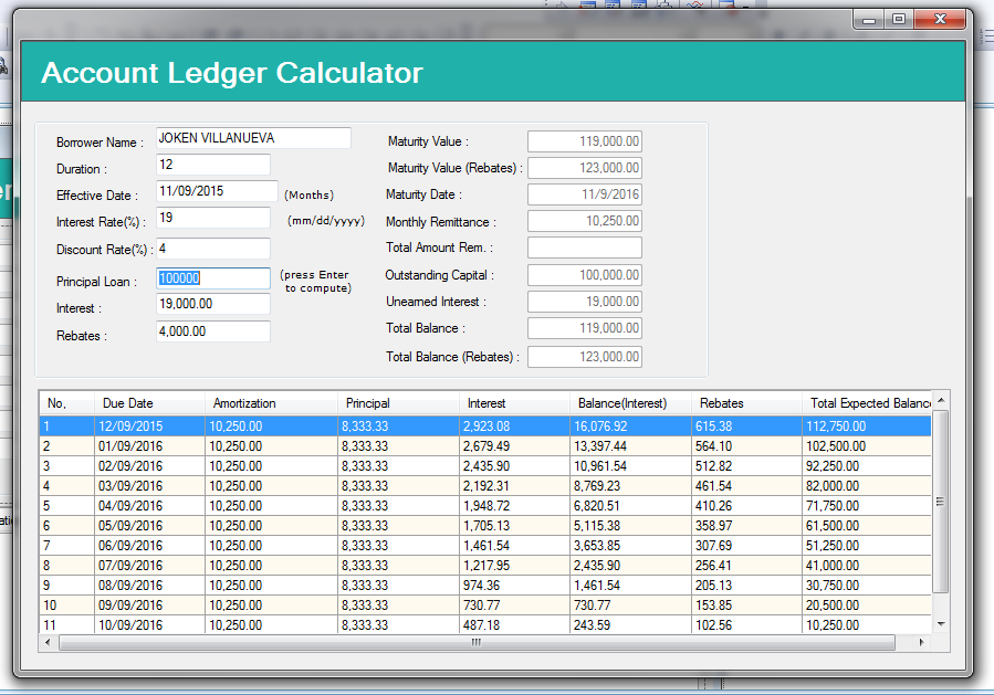Account Ledger Calculator