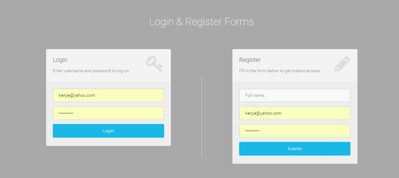 Login User And User Registration In Php