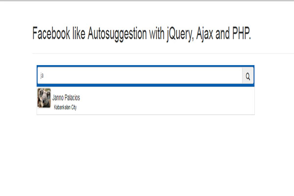 autosuggestion like facebook