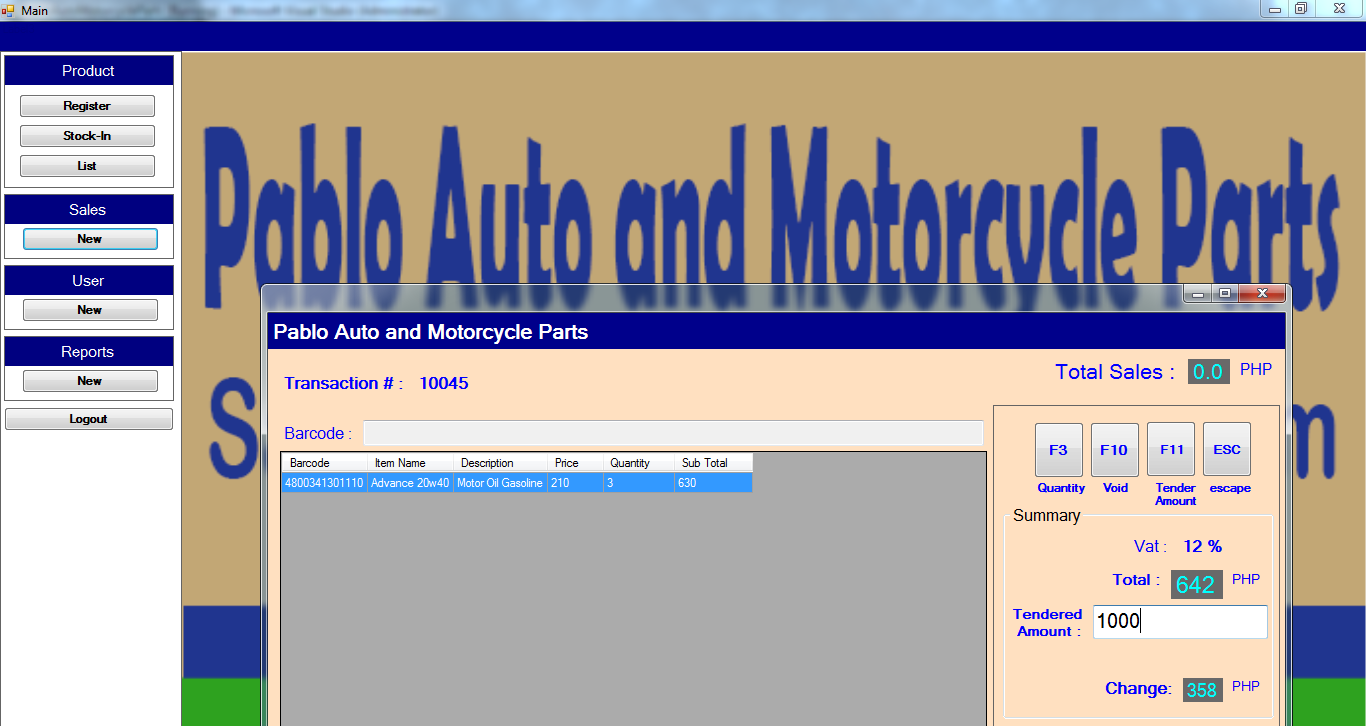 PSpABLOmOTOROUTPUT sales and Inventory System