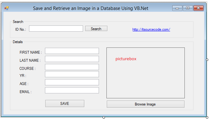 save image from database in vb.net Form Design