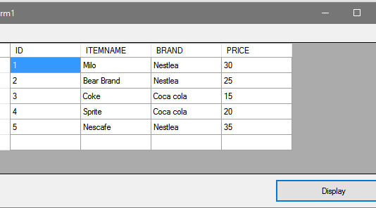 Displaying Data Table records in Datagridview using VB.Net