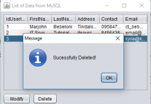 Delete Data using MySQL Database and Java with Netbeans IDE