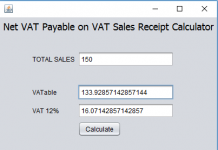 VAT Sales Receipt Calculator using Java