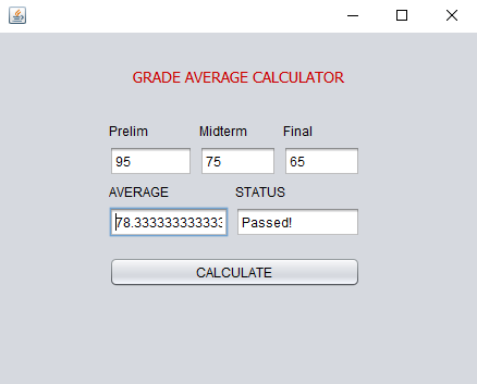 Grade Average Calculator using Java