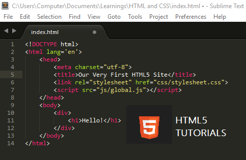 First HTML5 Website - Beginners Guide for Web Developers