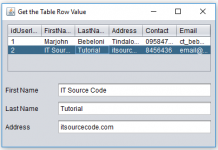 Get table row value and Display into Text Field Elements in Java
