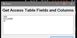 How to Get MS Access Table Fields or Columns in VB.Net