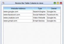 How to Resize the Table Column in Java Runtime