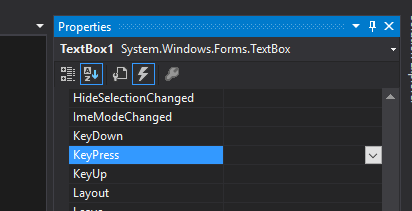 visual studio keydown