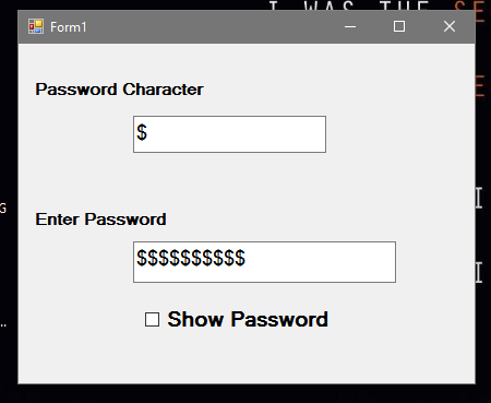 How to Change Password Character in Runtime using VB.Net
