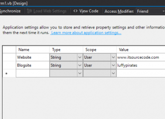 VB.Net Project Application Settings Store and Retrieve Information