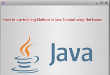 How to use toString Method in Java Tutorial using Net beans