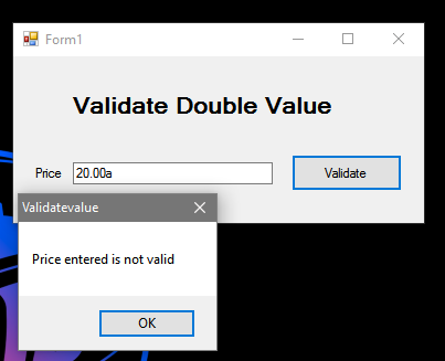 How to Validate Double Value in VB.Net