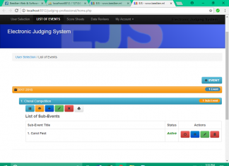 Electronic Judging System with Text-Poll