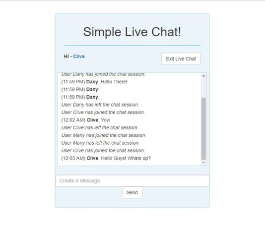 Simple Live Chat using PHP
