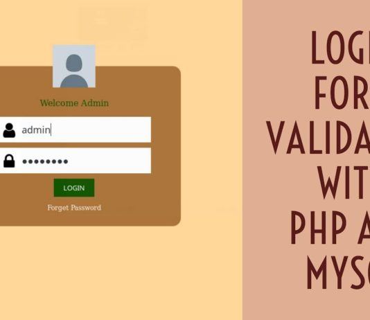 Simple Login Form with Validation using MySql in PHP
