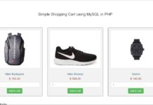 Simple Shopping Cart using MySQL in PHP