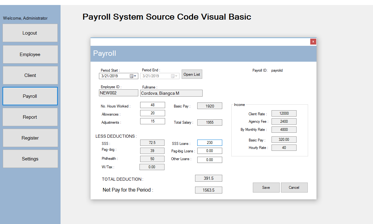 Payroll System in VB.Net Projects with Source Code