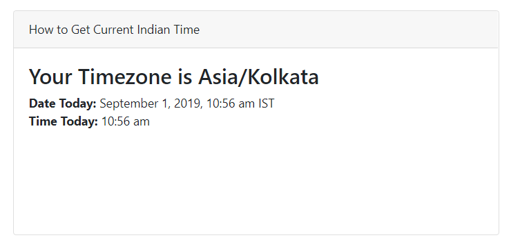 get current indian time php