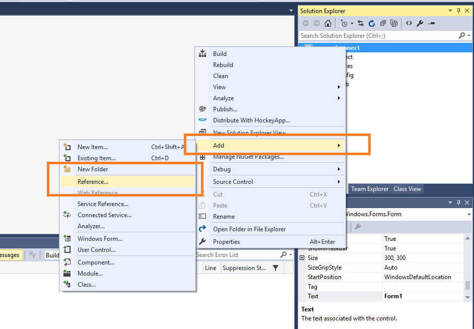 add mysql.data.dll reference visual studio 2019