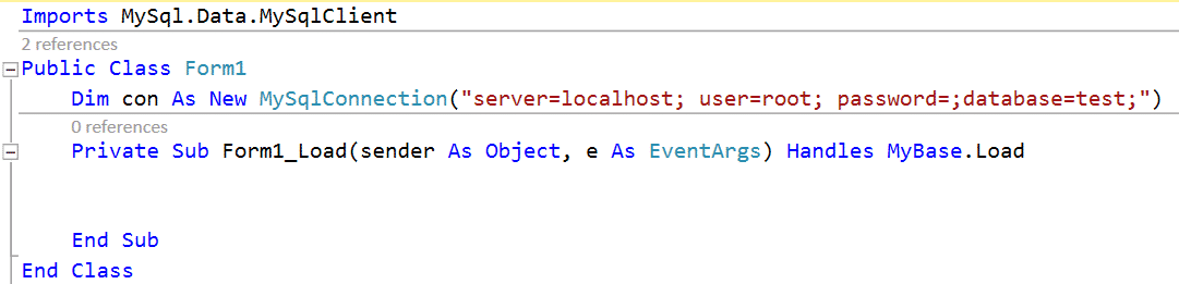 setup connection string in visual studio 2019