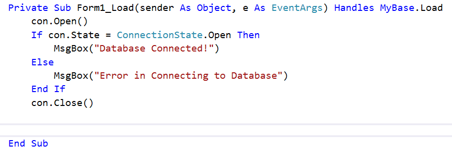 test Connection String visual studio