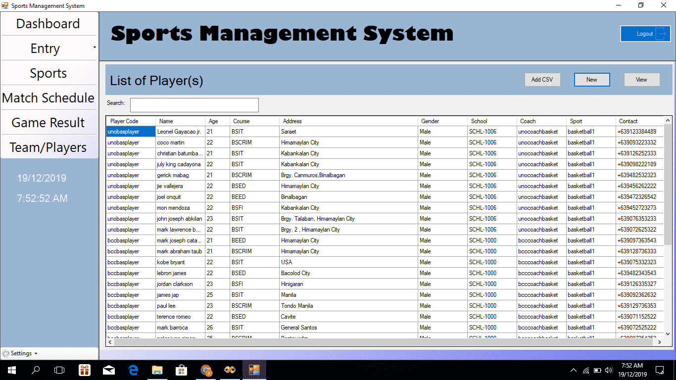 Sports Event Management System Project with sms notification system