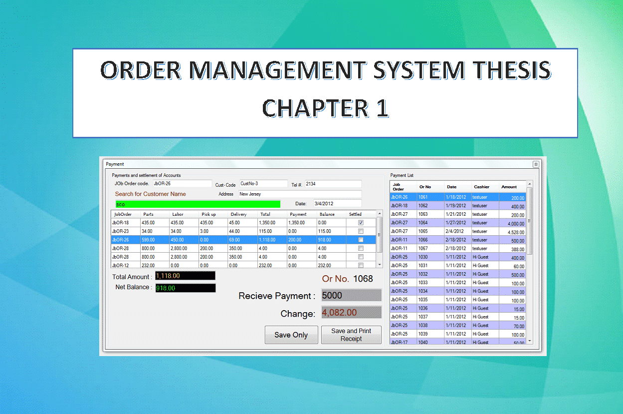 Order management system thesis