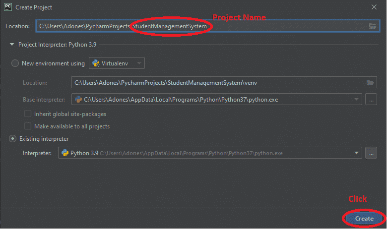 Create a Project Name