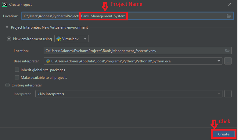 Create Project name of Bank management system