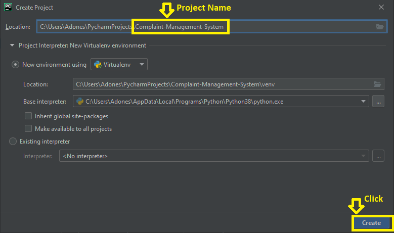 Create project name in Complaint system in python