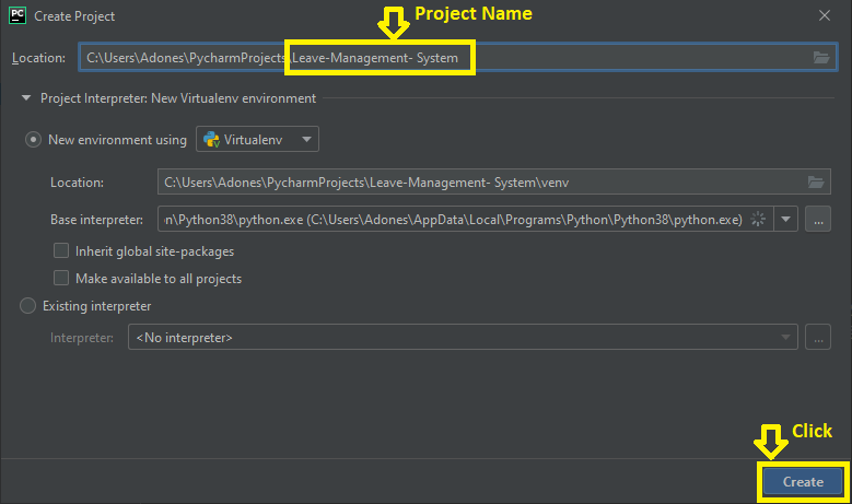 Creating Project Name in Leave Management System in Python