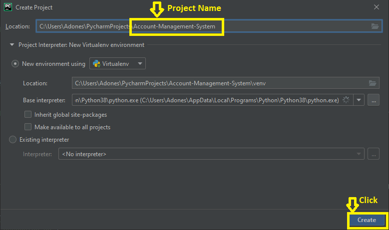 Creating a Project Name in Account Manageement System