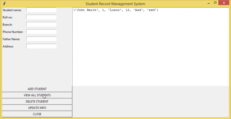 student record management system project in python