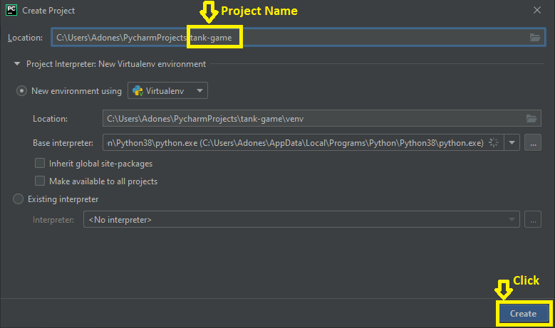 Creating Project Name in Tank Game in python with Source Code