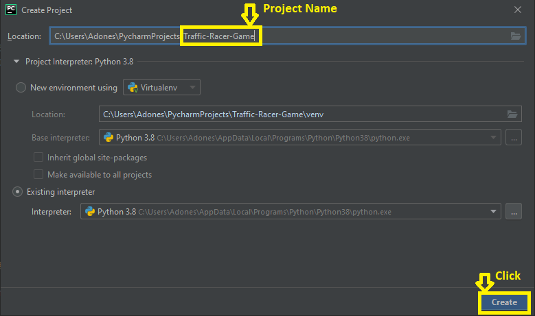 Creating Project name in Traffic Racer Game in Python with Source Code