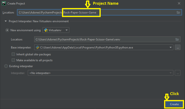 Creating project name in rock paper scissor in python