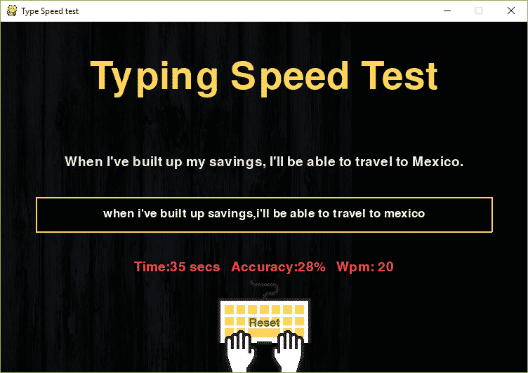 Code for game In Python Speed Typing Test