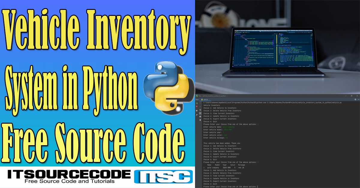 Vehicle Inventory System in Python with Source Code