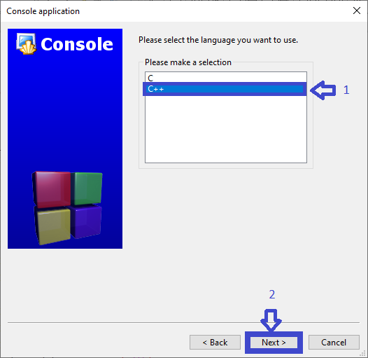 Choose Console Apps for C++ Program to Add Two Numbers with Source Code