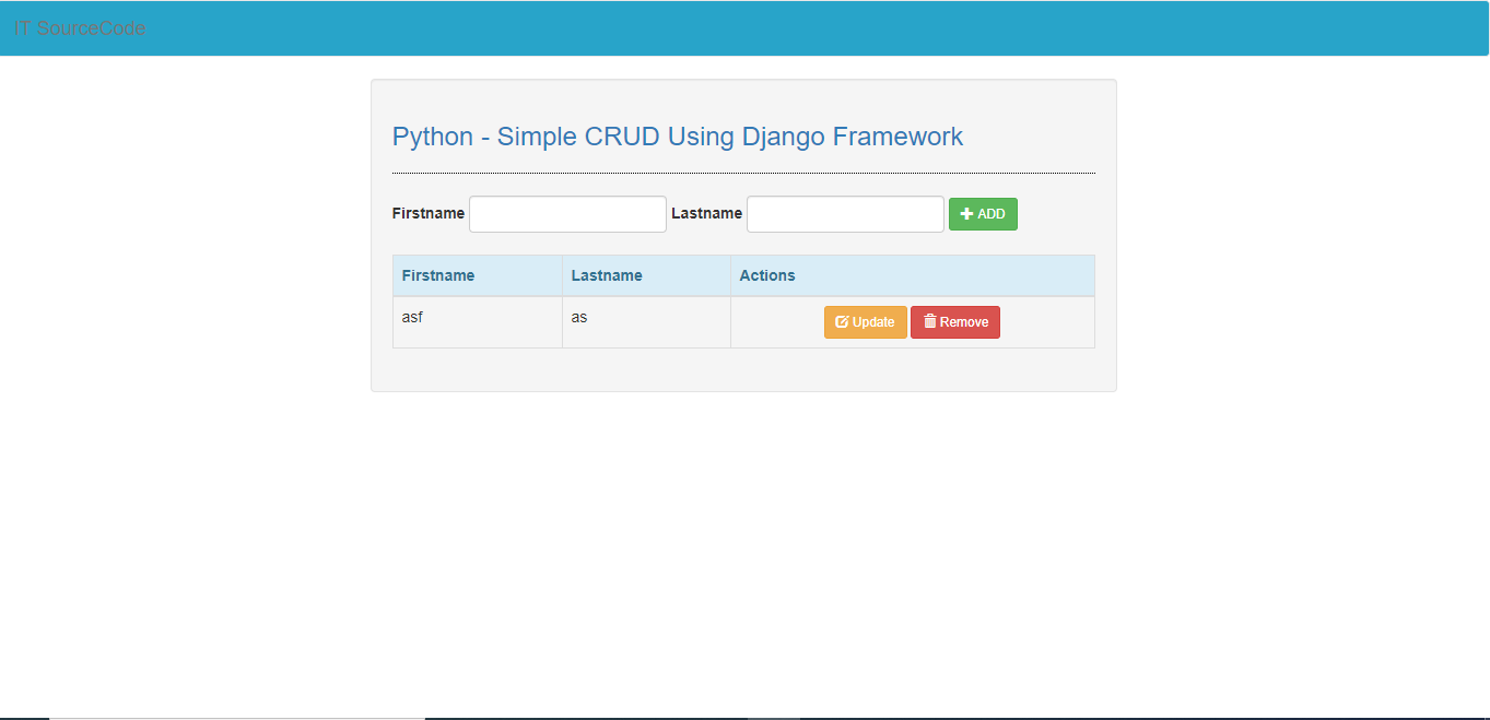 Crud Application in Django and Python with Source Code