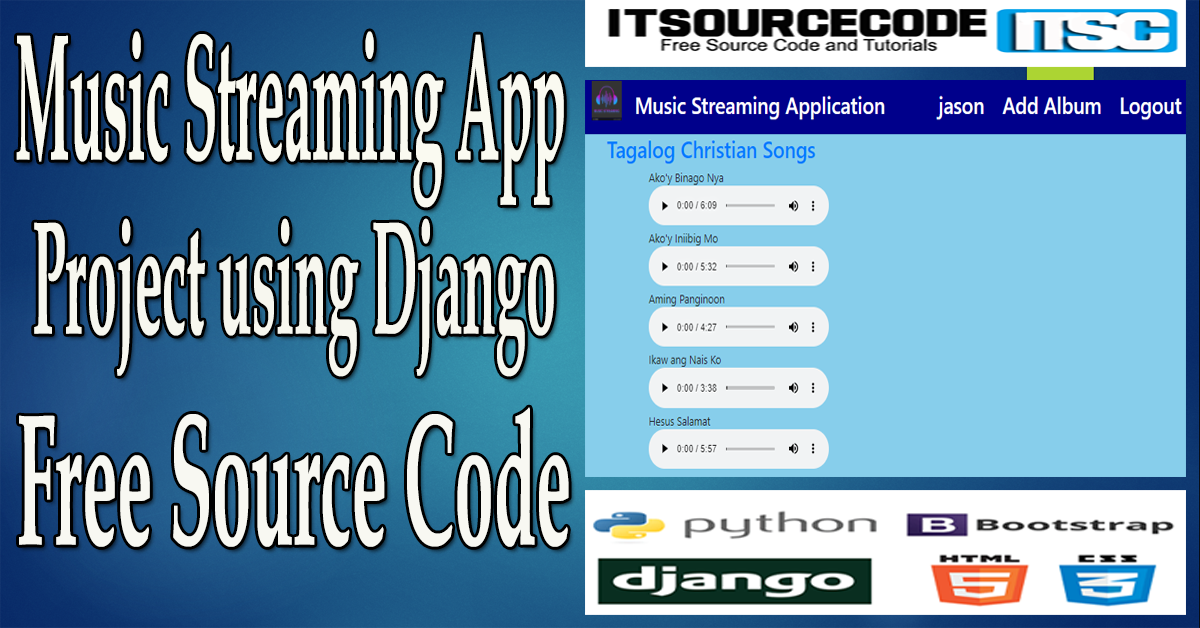 Music Streaming App Project in Django with Source Code