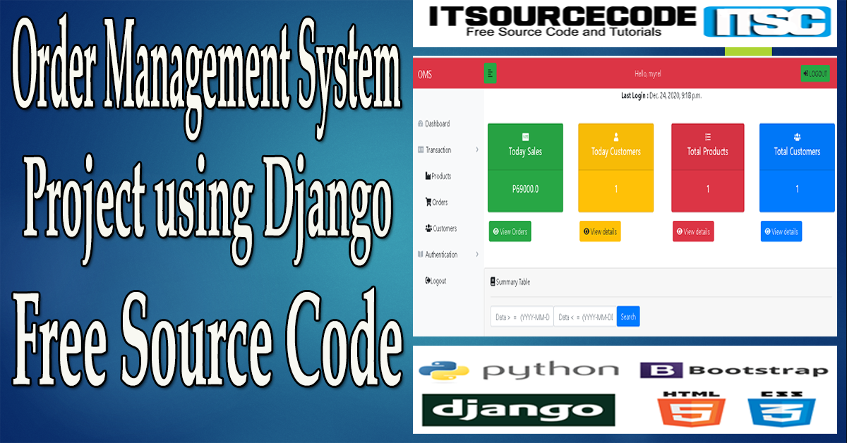 Order Management System Project in Django with Source Code