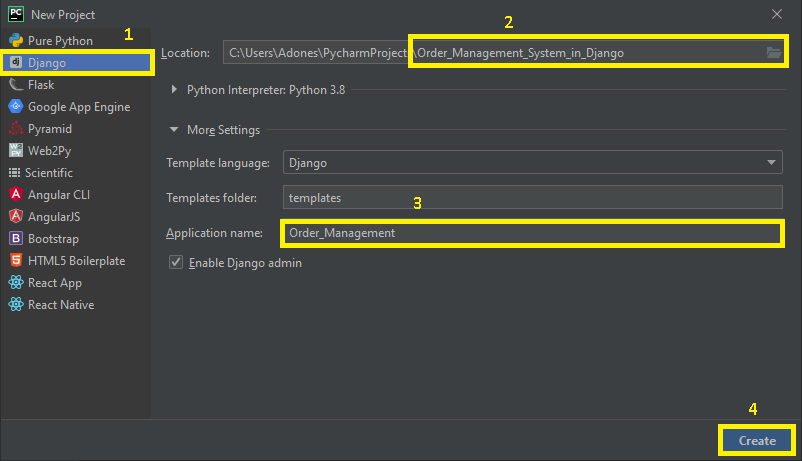 finish creating project name for order management system in django with source code