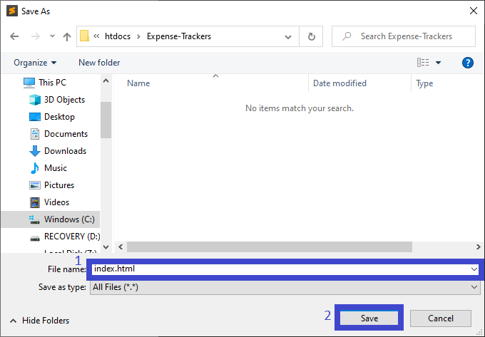 Create index.html for Expense Tracker in JavaScript with Source Code